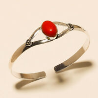 BEAUTIFUL CORAL 925 STERLING SILVER OVERLAY GEMSTONE BRACELET CUFF JEWELLERY