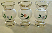 3 Mid Century Anchor Hocking Vases Frosted Glass Hand Painted Flowers Gold Bands