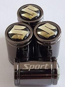 SUZUKI Black top Sport Titanium Deluxe Alloy Valve Dust Caps All Models Vitara