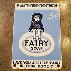 Vintage Heavy Gauge Metal Enamel Advertising White Pure Floating Fairy Soap 7x10