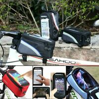 Waterproof MTB Mountain Bike Cycling Frame Front Bag Bicycle Mobile Phone Holder