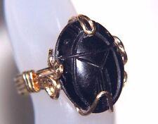 Egyptian Scarab Ring Genuine Black Onyx Gemstone 14kgf Gold Setting size 5