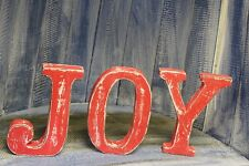 Shabby Chic Standing Red JOY Christmas Wooden Letters