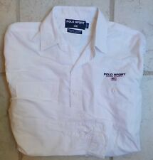 Vtg 80-90's Polo Sport Ralph Lauren Dungaree Workshirt Large White Excellent