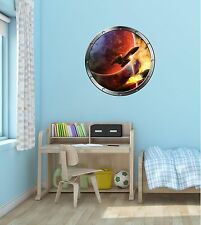 "24"" Porthole Space Window SPACESHIP BATTLE #1 SILVER Wall Decal Sticker Graphic"
