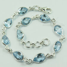 925 Solid Sterling Silver Genuine BLUE TOPAZ Drop Gemstones Fashion Bracelet