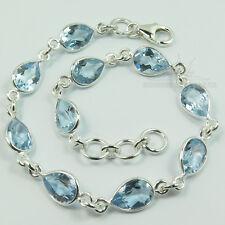 925 Solid Sterling Silver Genuine BLUE TOPAZ Drop Gemstones Fashion Bracelet