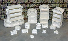 DIY 4 UnPainted Cabinets with Books - Works with Dwarven Forge and DnD D&D