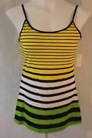 NEW Womens Spaghetti Strap Tank Top Plus Size 1X Striped Shirt Yellow Green Cami