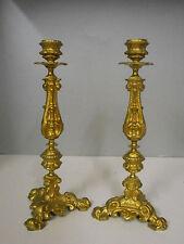 PAIRE DE BOUGEOIRS EN METAL DORE DE STYLE LOUIS XIV.Candlesticks,XIX°.