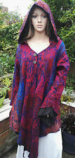 FAIRTRADE Bohemian Woven Floral Hooded Pixie Fae Coat Long Jacket Pagan XL 16 18