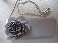 LULU TOWNSEND silver colored evening purse with flower and drop chain