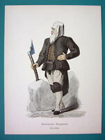 COSTUME Germany Saxon Miner around 1600 - 1880s Color Antique Print
