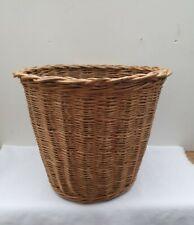 Vintage or Retro Solid Wicker Waste Paper Basket Bin Woven Cane Plant Holder