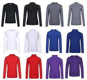 Boys Kids Children Compression Baselayer Thermal Shirt Top Long Sleeve Skins UK