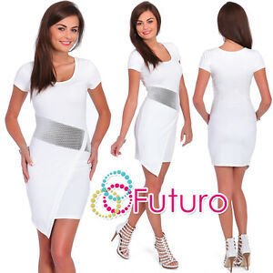 Cocktail Ecru Wrap Dress Scoop Neck Short Sleeve Party Tunic Sizes 8-14 FC1459