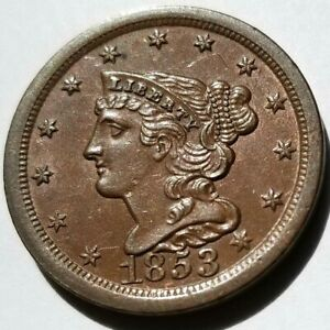 1853 BRAIDED HAIR HALF CENT SHARP LUSTROUS UNCIRCULATED ORIGINAL COIN NICE!