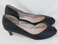 Steve Madden Black Leather Peep Toe Kitten Heel Shoes Size 6 M US Excellent