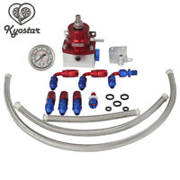 Adjustable Fuel Pressure Regulator Kit + 160psi Guage Braided Hoses AN6 Fittings