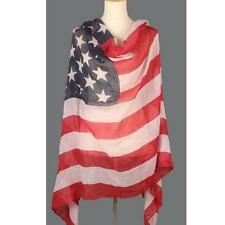 Women USA American Flag Print Large Soft Stars & Stripes Long Scarf Shawl Wrap #