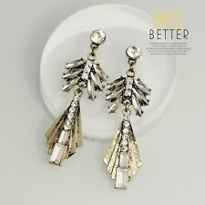 Costume Earring Stud Gold Copper Crystal Leaf Drop Pendant Art Deco Vintage A8
