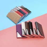 PU Leather Business ID Credit Cover Aluminium Stainless Steel Card Holder Case