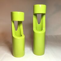 Unique Ceramic Chartreuse Lime Candle Holders Abstract Look Like Train Whistles