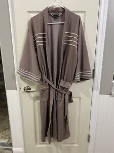 Vintage PLAYBOY bathrobe One Size long robe Huge Hefner bunny logo Beige Tan