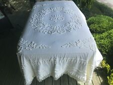 "92"" Wide lt. cream Cabin Craft Vintage Chenille Needletuft Bedspread rescued"