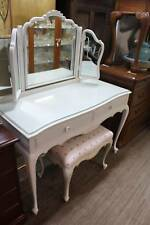 An Antique White French Dressing Table with Glass Top and Stool