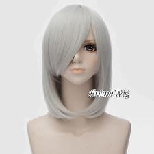 Anime Yuri Nakamura Anime 45CM Medium Wavy Silver White Cosplay Full Hair Wig