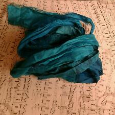 3 Meters Recycled Sari Silk Ribbon - Peacock