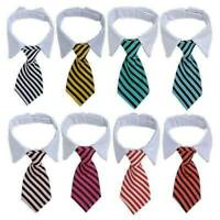 NEW Striped Bow Tie Collar Adjustable Necktie Bowknot Clothes For Pet Dog Cat UK