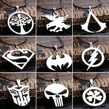 Batman Superman Men Women Pendant Silver Stainless Steel Leather Necklace Chain