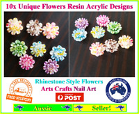 10 Multi-Color Flat back Resin Daisy Flower Cabochons 10mm Rhinestones Unique