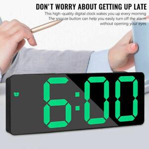 Mirror Surface LED Alarm Clock Night Light Digital Desk Table Clock USB Home UK