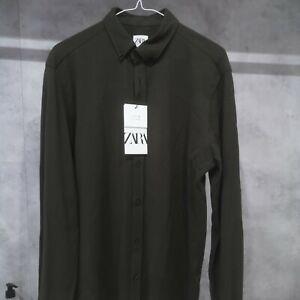 Mens Zara pique Khaki shirt