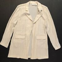 Chico's Travelers Size 2 Large Open Front Crinkle Blazer Jacket With Pockets