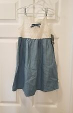 Lucky Brand Girls 5 White Crochet Bodice and Bleached Washed Jean Dress