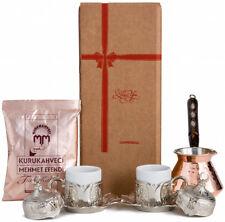 10 Pc Turkish Greek Arabic Coffee Gift Set w Copper Pot Cups Saucers Lids Coffee