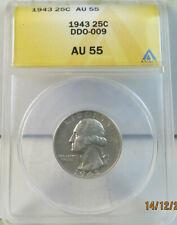 1943 Washington quarter ANACS AU55 *DDO-009* BR