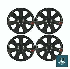 "Wheel Trim Cover Chromia 15"" To Fit Seat Alhambra  Black Carbon Set Of 4"