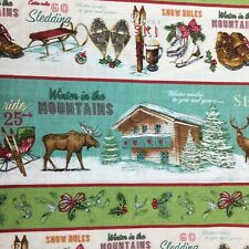 Christmas Deer Xmas Snow Ski Mountain Stripe Turquoise Quilting Quilt Fabric FQ