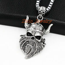 Men's Stainless Steel Nordic Viking Death Skull Pendant Chain Biker Necklace