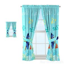 Finding Dory Curtains 4 Piece Set Tie Backs Kids Bedroom Decor Blue Nemo New