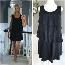 NEXT Black Dress Size 12 Tiered RaRa Mini Dress Ruffle Shift Dress Party