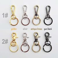 Lobster Swivel Keychain Car Key ring Clasp Clip Trigger Snap Hook + Split Ring