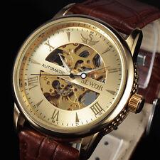 de marcas de lujo automático esquelético de oro relojes mecánicos hombres