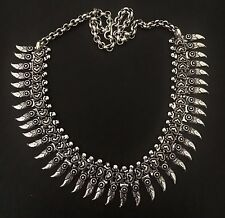 Tribal Statement Necklace Boho jewel Indian Gypsy necklace G Silver necklace