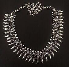 Tribal Statement Necklace Boho jewel Indian Gypsy necklace G Silver necklace